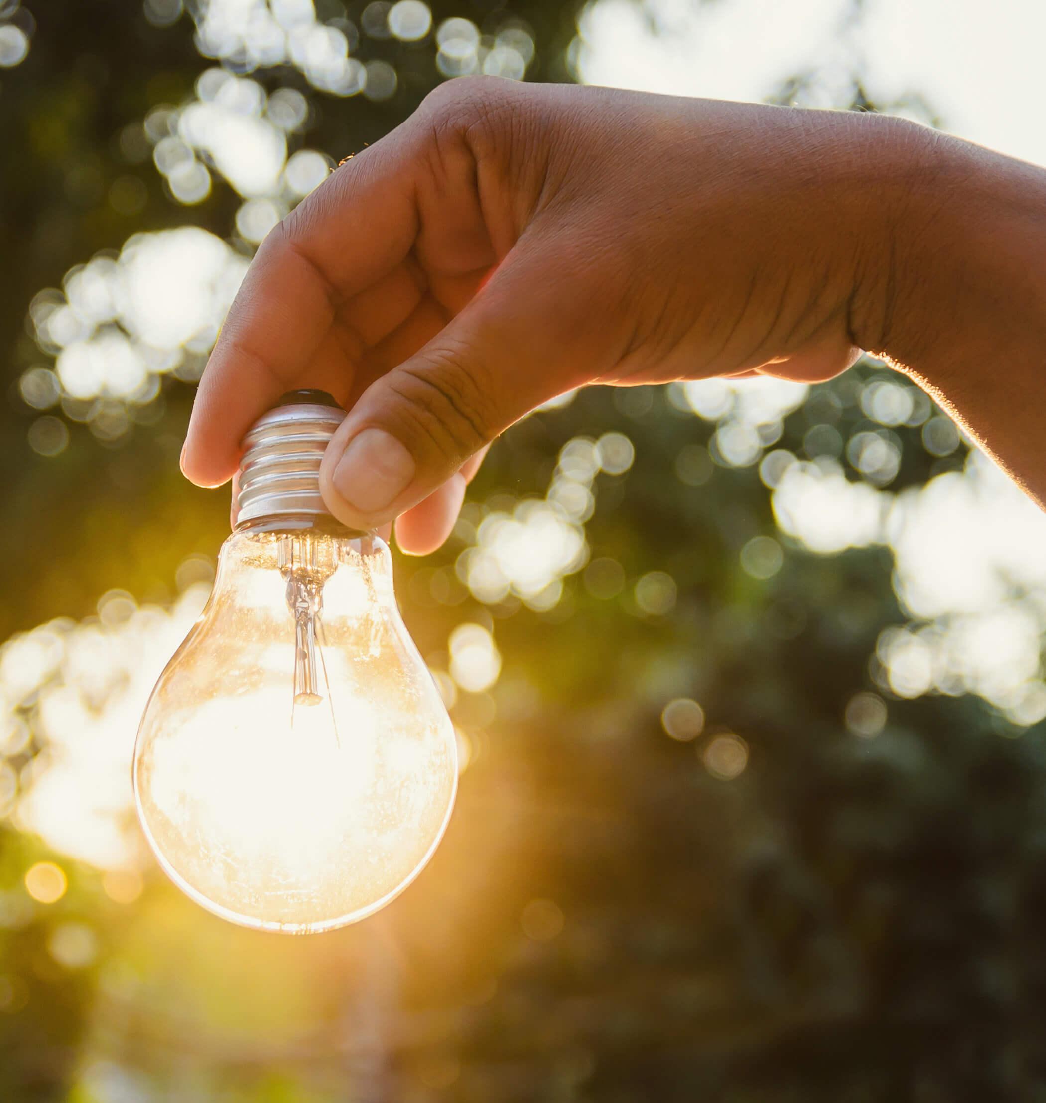 Hand hält eine von Sonne durchleuchtete Glühbirne