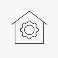 Icon Haus mit Zahnrad in der Mitte