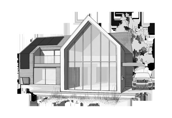 Schwarzweiße Skizze von Haus mit Photovoltaikanlage, Wärmepumpe und Elektroauto