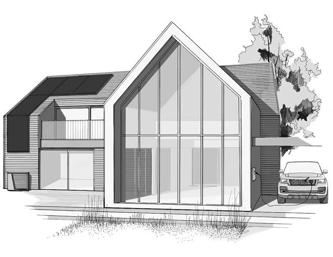 Skizze eines Hauses mit Solaranlage und Wärmepumpe