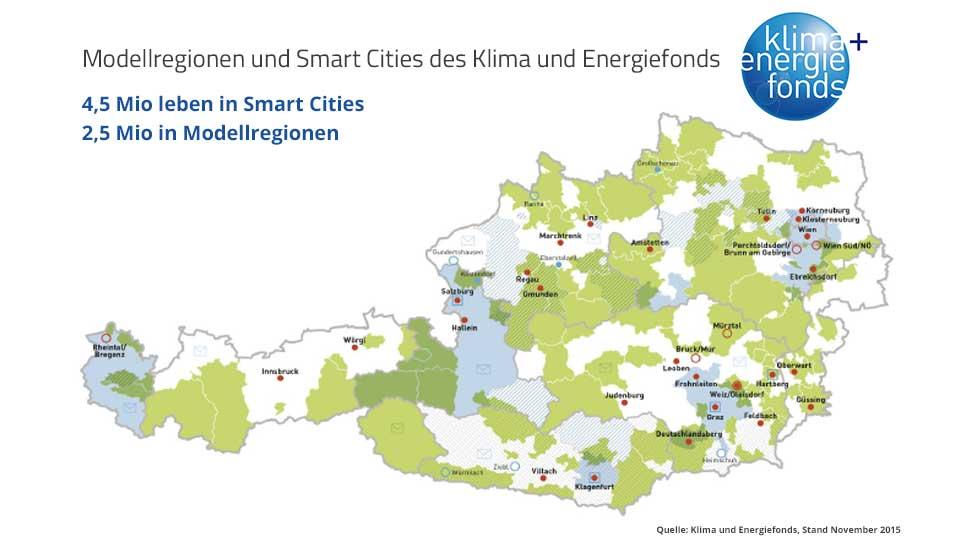 Österreichkarte mit Klimamodellregionen und Smart Cities