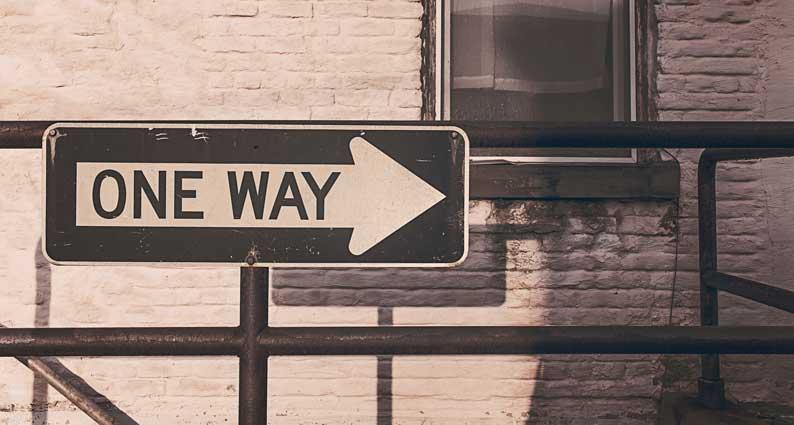 Wegweiser Einbahnstraße zu Ihrer Förderung
