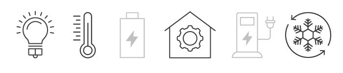Icons Glühbirne, Thermostat, Energiehaus, Kühlung
