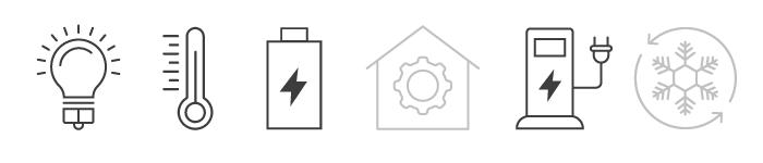 Icons Glühbirne, Thermostat, Strombatterie, E-Tankstelle
